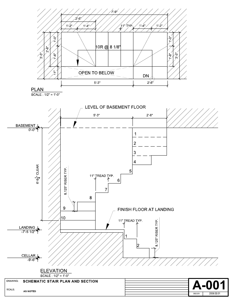 Stairs To Cellar Architect Drawings Imperial Measurements