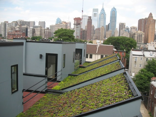 green roof installation with slanted roof