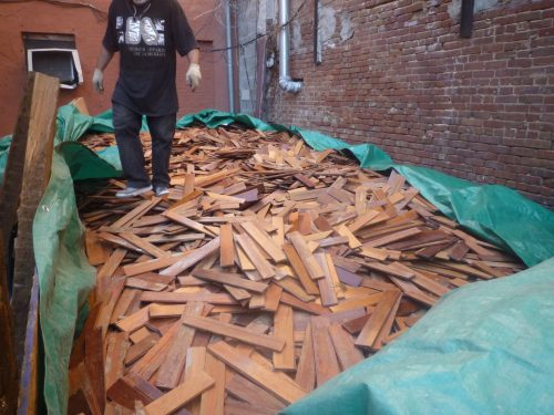 Mahogany salvaged flooring