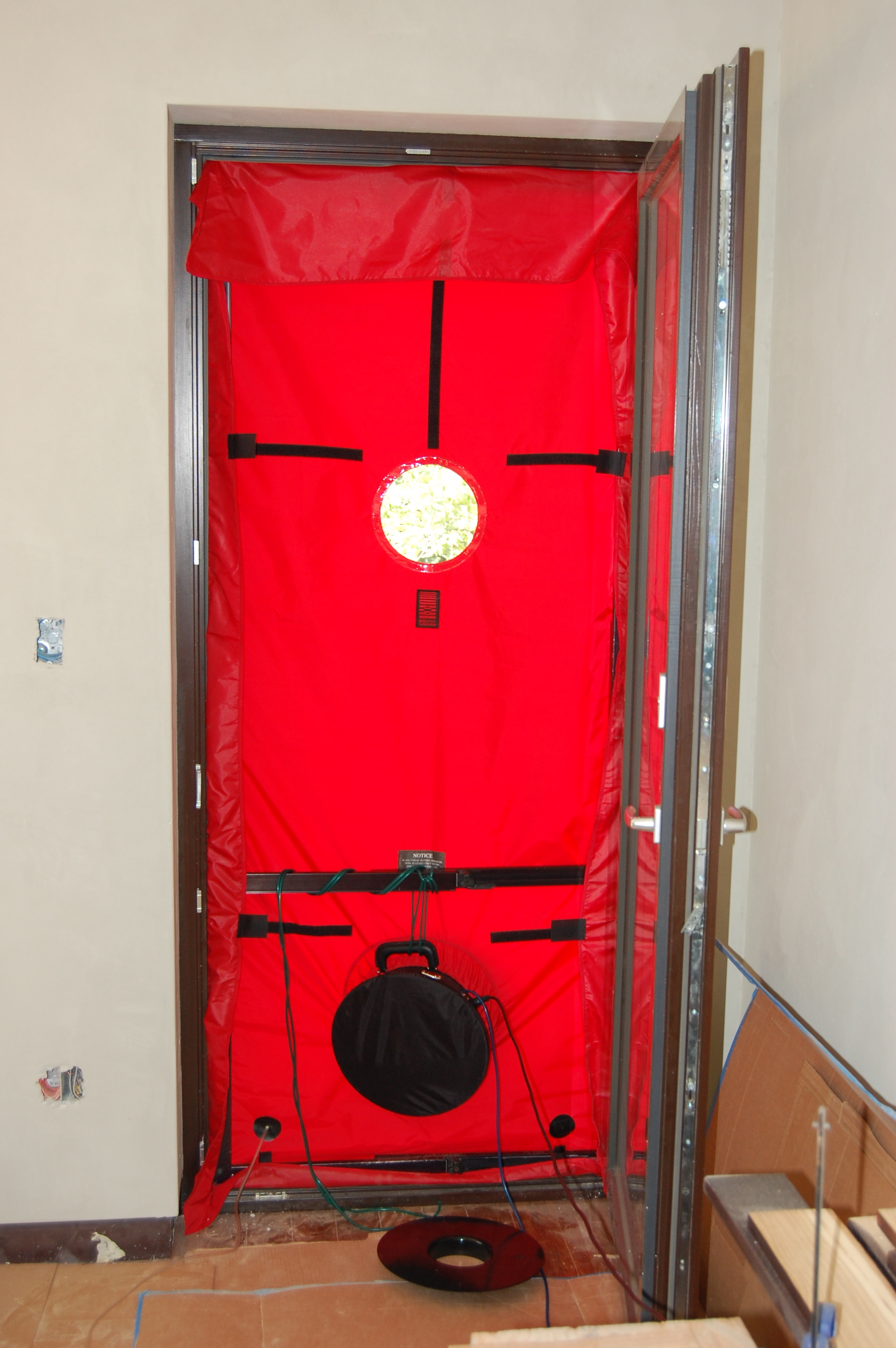 passive house blower door test eco brooklyn. Black Bedroom Furniture Sets. Home Design Ideas