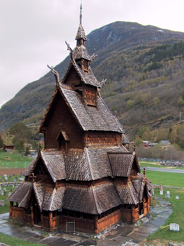 Borgund stave church, in Borgund, Lærdal, Norway, built in the 12th century
